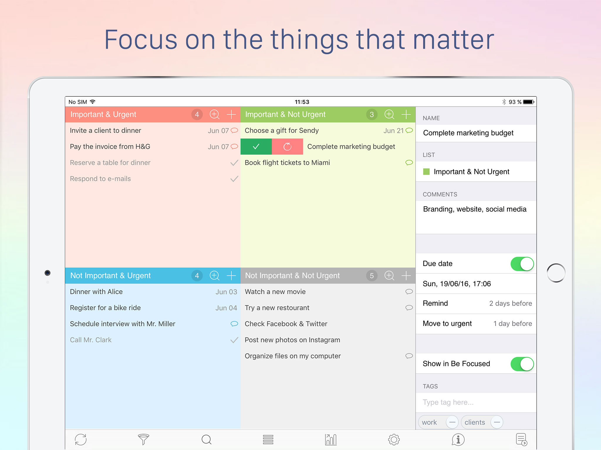 Focus Matrix for iOS: Personal Organizer Based on the Eisenhower Method Image