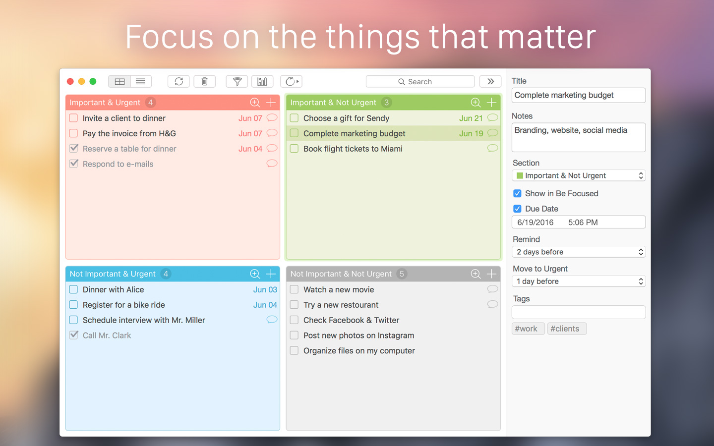 Focus Matrix for Mac: Personal Organizer Based on the Eisenhower Method Image