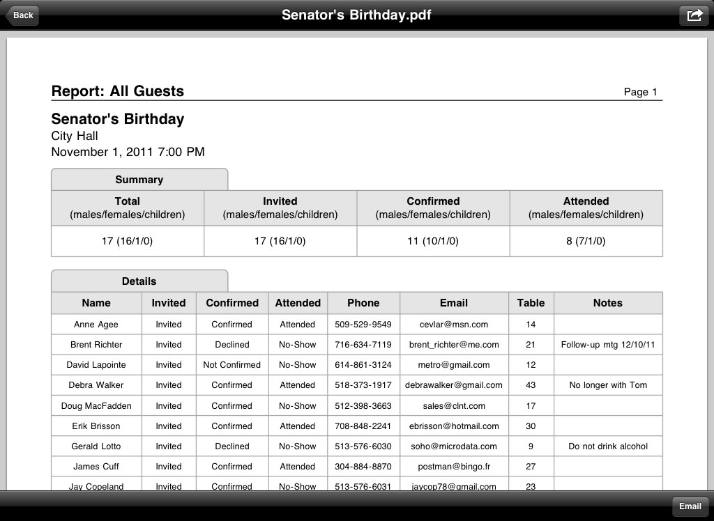 Guest List Organizer 12 For IPad